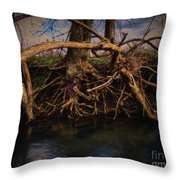 More Roots In Creek Throw Pillow