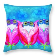More Rose City Rain Frogs Throw Pillow