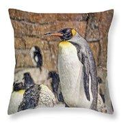More Snow - King Penguin Throw Pillow