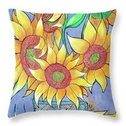 More Sunflowers Throw Pillow by Loretta Nash