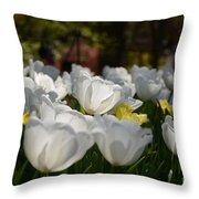 More White Tulips Throw Pillow