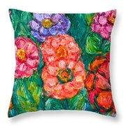 More Zinnias Throw Pillow