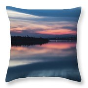 Morii Lake At Sunset Throw Pillow