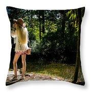 Morikami Gardens Pond Throw Pillow