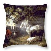 Morland: Farmyard, 1792 Throw Pillow