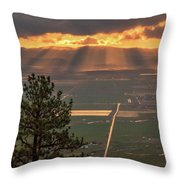 Morning Angel Lights Over The Valley Throw Pillow