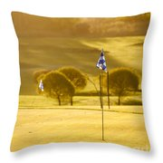 Morning At Golf Course Throw Pillow