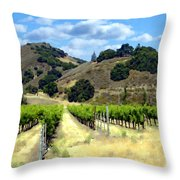 Morning At Mosby Vineyards Throw Pillow