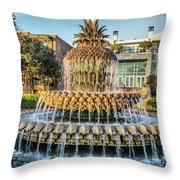 Morning At Pineapple Fountain Throw Pillow