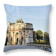 Morning At The Arc De Triomphe Du Carrousel  Throw Pillow
