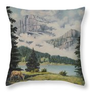 Morning At The Glacier Throw Pillow