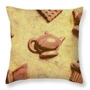 Morning Breakfast Chocolate Tea Set  Throw Pillow