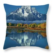 Morning Cloud Layer Oxbow Bend In Fall Grand Tetons National Park Throw Pillow by Dave Welling