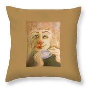 Morning Coffee Girl Throw Pillow
