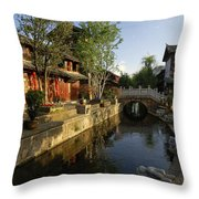 Morning Comes To Lijiang Ancient Town Throw Pillow