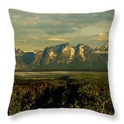 Morning Dawns On The Tetons Throw Pillow