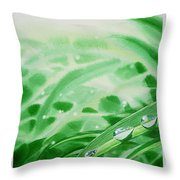 Morning Dew Drops Throw Pillow by Irina Sztukowski