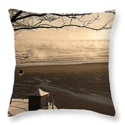 Morning Filey Beach Throw Pillow