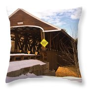 Morning Finds The Rowell Bridge Throw Pillow