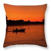 Morning Fishing On The Lake Throw Pillow