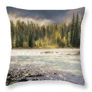 Morning Fog At Athabasca River Throw Pillow