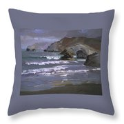 Morning Fog Shark Harbor - Catalina Island Throw Pillow