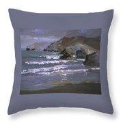 Morning Fog Shark Harbor - Catalina Island Throw Pillow