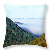 Morning Fog At Sunrise In Autumn Throw Pillow