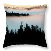Morning Fog In Northern Saskatchewan Throw Pillow