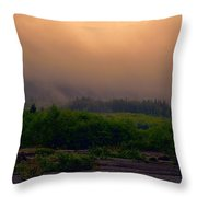 Morning Fog In Olympic National Park Throw Pillow