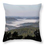 Morning Fog On Pine Mountain Throw Pillow