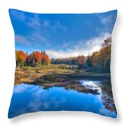 Morning Fog On The Moose River Throw Pillow