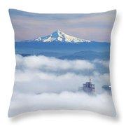 Morning Fog Over Portland Throw Pillow