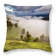 Morning Fog Over Yellowstone Throw Pillow
