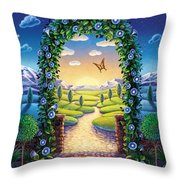 Morning Glory - Awaken To Magic Throw Pillow by Anne Wertheim