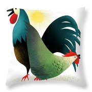 Morning Glory Rooster And Hen Wake Up Call Throw Pillow