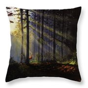 Morning Glow In The Forest Throw Pillow