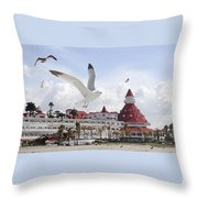 Morning Gulls On Coronado Throw Pillow