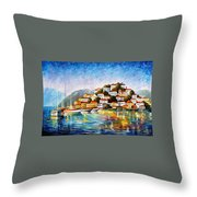 Morning Harbor - Palette Knife Oil Painting On Canvas By Leonid Afremov Throw Pillow