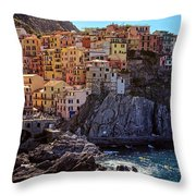 Morning In Manarola Cinque Terre Italy Throw Pillow