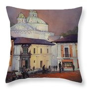 Morning In The Plaza- Quito, Ecuador Throw Pillow