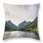 Morning Light Hitting The Docks At Doubtful Sound In New Zealand Throw Pillow