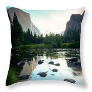 Morning Light On El Capitan Throw Pillow