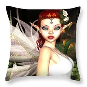 Morning Lily Fairy Throw Pillow