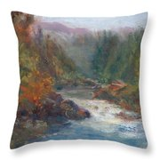 Morning Muse - Original Contemporary Impressionist River Painting Throw Pillow