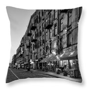 Morning On River Street In Black And White Throw Pillow