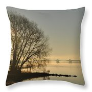 Morning On The Bay Bridge Throw Pillow