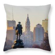 Morning On The Parkway - Philadelphia Throw Pillow