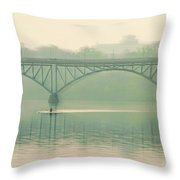 Morning On The Schuylkill River - Strawberry Mansion Bridge Throw Pillow