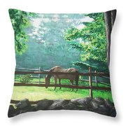 Morning Pasture Throw Pillow